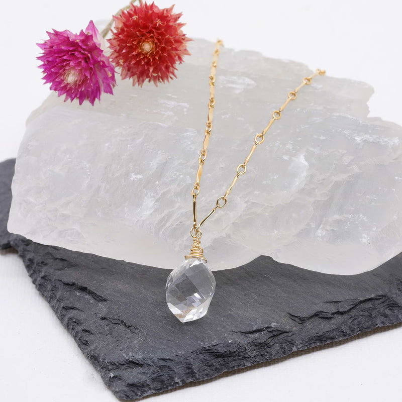 Croft - Quartz Crystal Pendant Gold Necklace main image | Breathe Autumn Rain Artisan Jewelry