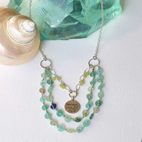 Crystal Cove - Roman Glass Double Strand Charm Necklace main image | Breathe Autumn Rain Artisan Jewelry
