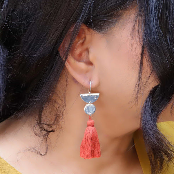 Dancing with Moons - Sterling Silver Tassel Earrings life style sunshine image | Breathe Autumn Rain Artisan Jewelry
