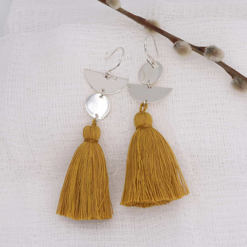 Dancing with Moons - Sterling Silver Tassel Earrings sunflower alt image | Breathe Autumn Rain Artisan Jewelry