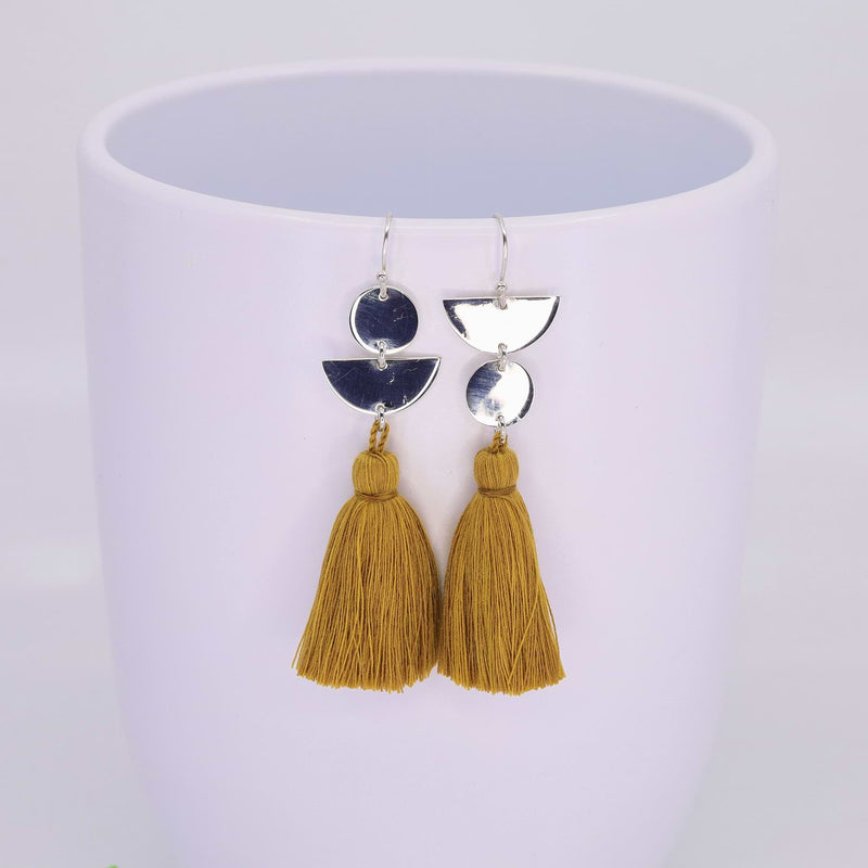 Dancing with Moons - Sterling Silver Tassel Earrings sunflower alt image 2 | Breathe Autumn Rain Artisan Jewelry