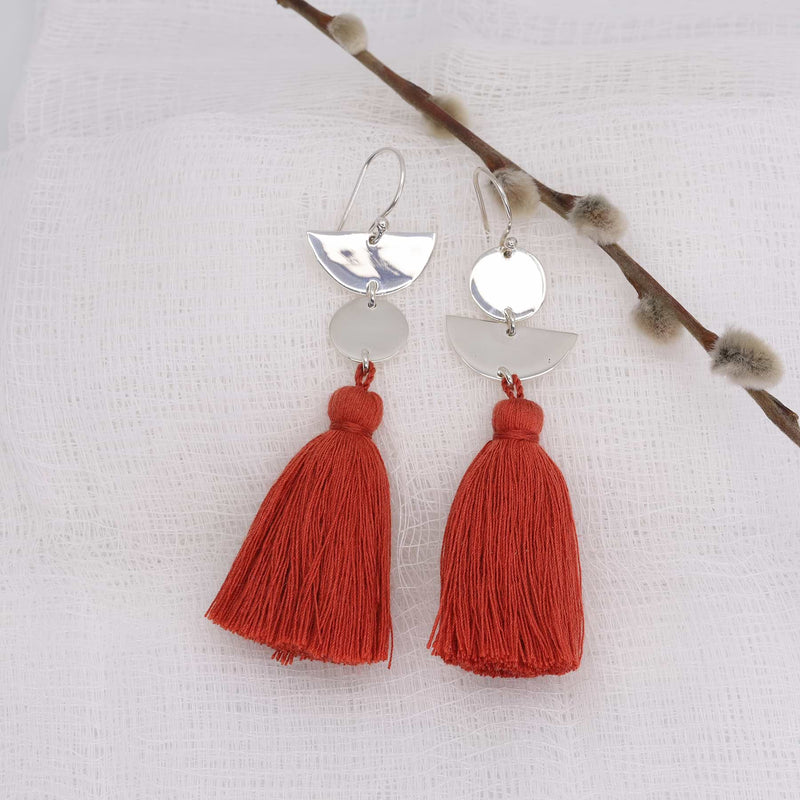 Dancing with Moons - Sterling Silver Tassel Earrings sunshine alt image | Breathe Autumn Rain Artisan Jewelry