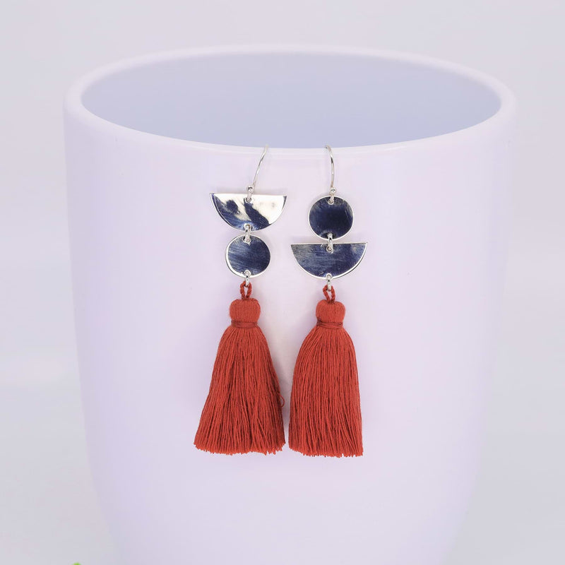 Dancing with Moons - Sterling Silver Tassel Earrings sunshine alt image 2 | Breathe Autumn Rain Artisan Jewelry
