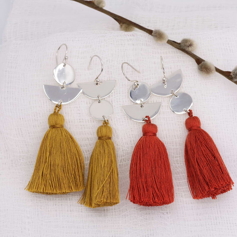 Dancing with Moons - Sterling Silver Tassel Earrings main image | Breathe Autumn Rain Artisan Jewelry