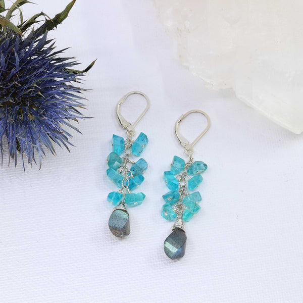 Day and Night - Labradorite and Apatite Cluster Earrings main image | Breathe Autumn Rain Artisan Jewelry