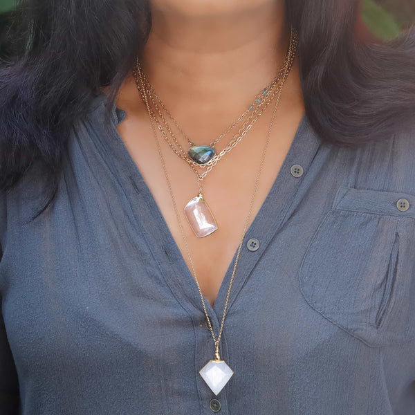 Desert Rose - Selenite Pendant Gold Layered Neckace life style layering image | Breathe Autumn Rain Artisan Jewelry