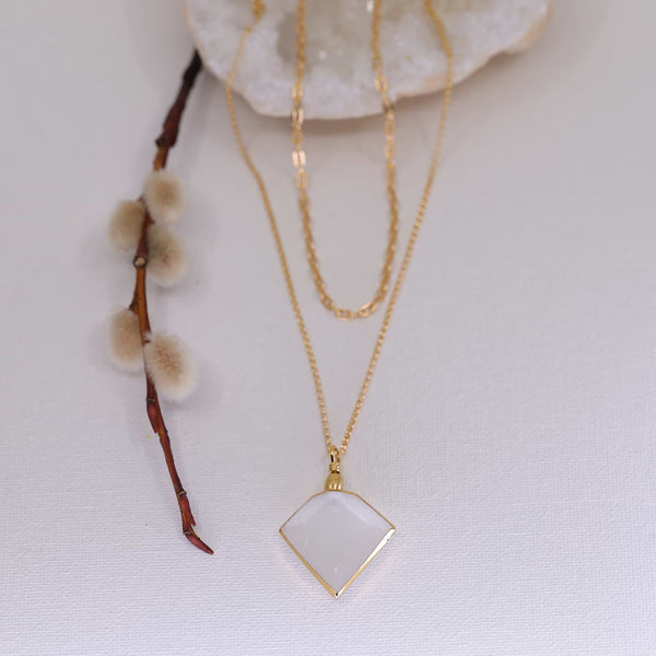Desert Rose - Selenite Pendant Gold Layered Neckace main image | Breathe Autumn Rain Artisan Jewelry