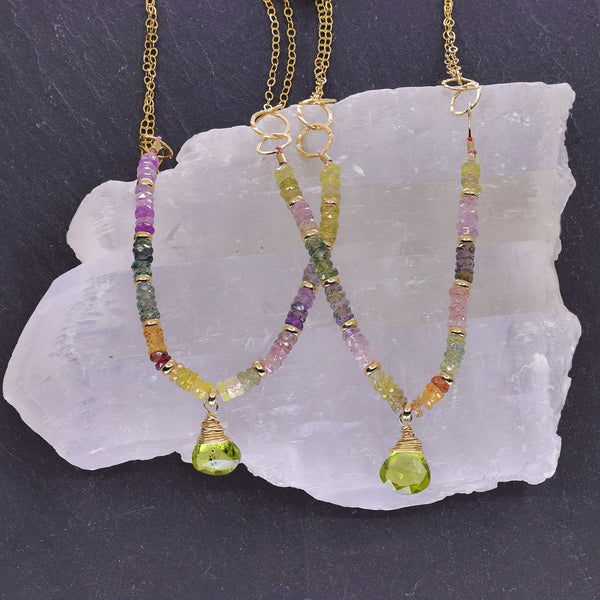 Desert Sky - Multi Pastel Sapphire and Peridot Necklace main image | Breathe Autumn Rain Artisan Jewelry