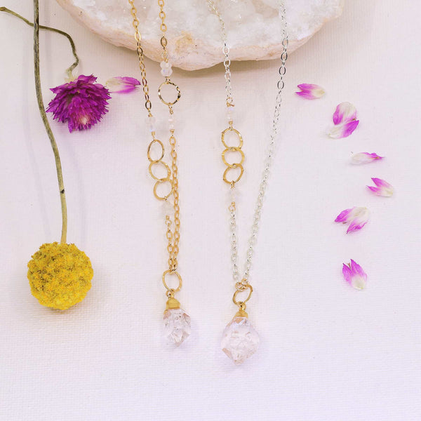 Diamonds In The Sky - Herkimer Diamond Necklace alt image | Breathe Autumn Rain Artisan Jewelry