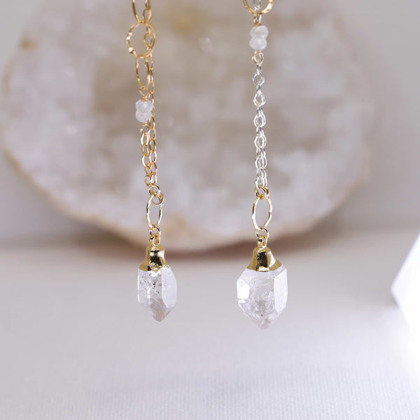 Diamonds In The Sky - Herkimer Diamond Necklace main image | Breathe Autumn Rain Artisan Jewelry