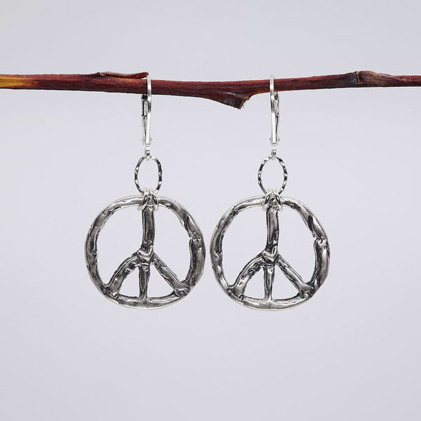 Divisadero - Peace Sign Silver Earrings alt image | Breathe Autumn Rain Artisan Jewelry