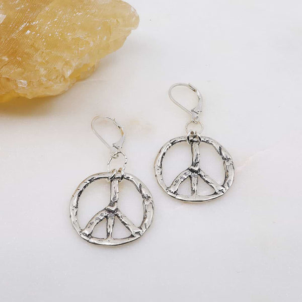 Divisadero - Peace Sign Silver Earrings main image | Breathe Autumn Rain Artisan Jewelry