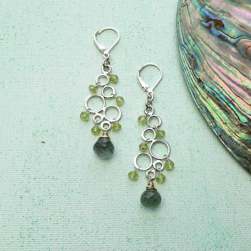 Dublin - Peridot Moss Aquamarine Silver Earrings alt image | Breathe Autumn Rain Artisan Jewelry