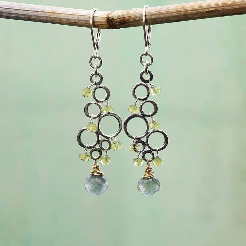 Dublin - Peridot Moss Aquamarine Silver Earrings alt image | Breathe Autumn Rain Artisan Jewlry