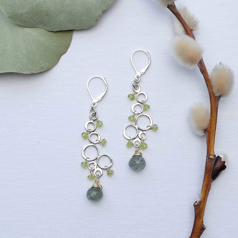 Dublin - Peridot Moss Aquamarine Silver Earrings main image | Breathe Autumn Rain Artisan Jewelry