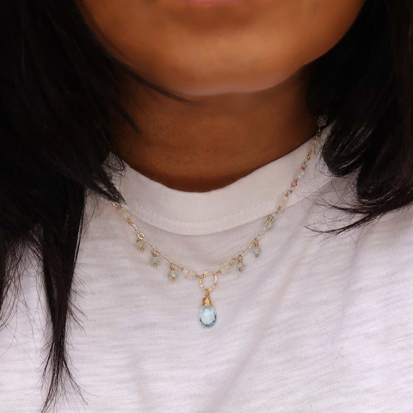 Enchanted - Moonstone Aquamarine Sky Blue Topaz Necklace life style image | Breathe Autumn Rain Artisan Jewelry