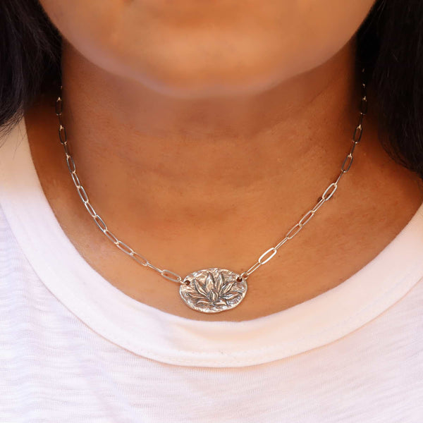 Enlightened Lotus- Sterling Silver Lotus Flower Necklace life style image | Breathe Autumn Rain Artisan Jewelry