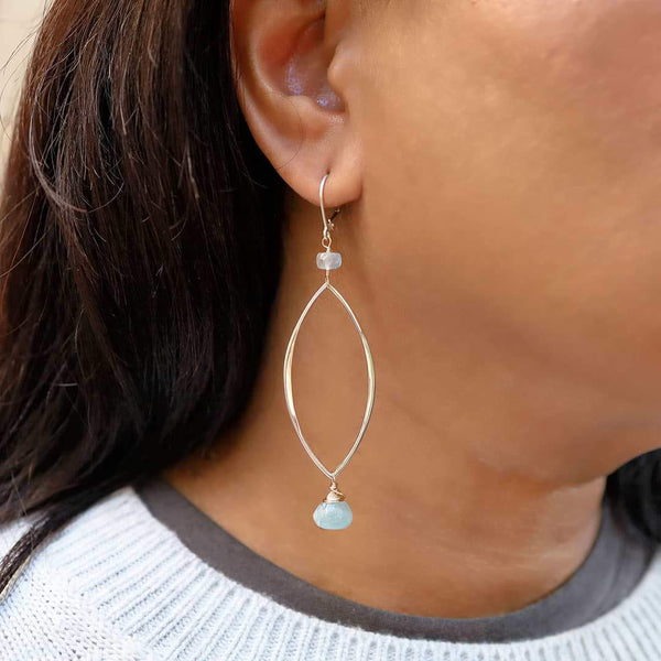 First Frost - Aquamarine Long Drop Earrings - Life Style Image | Breathe Autumn Rain Artisan Jewelry