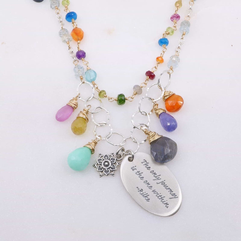 Free Hippie - Double-Strand Multi-Gemstone Necklace