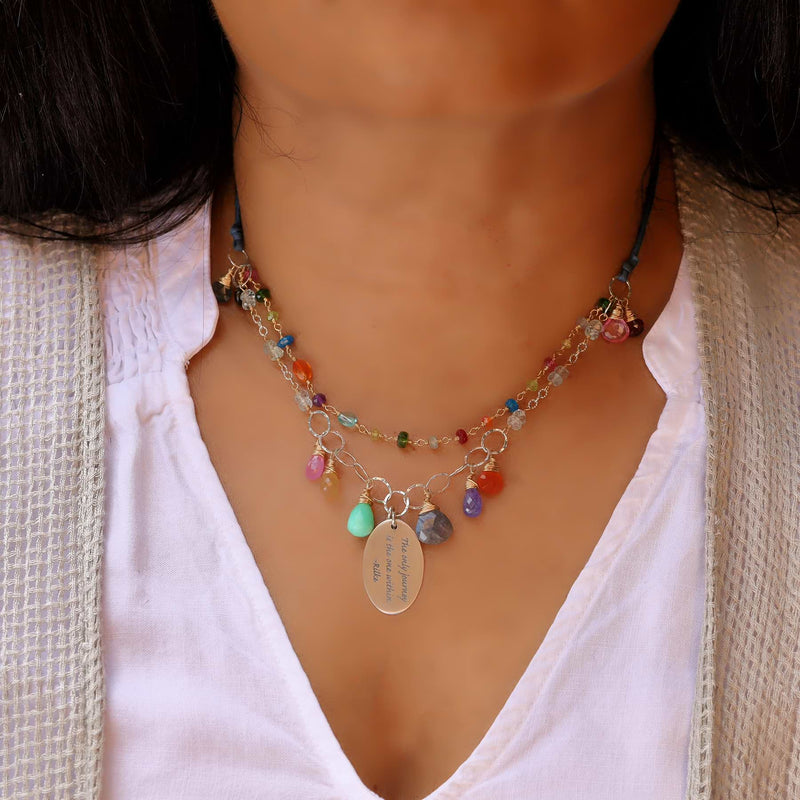 Free Hippie - Double-Strand Multi-Gemstone Necklace life style image | Breathe Autumn Rain Artisan Jewelry