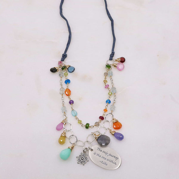 Free Hippie - Double-Strand Multi-Gemstone Necklace main image | Breathe Autumn Rain Artisan Jewelry