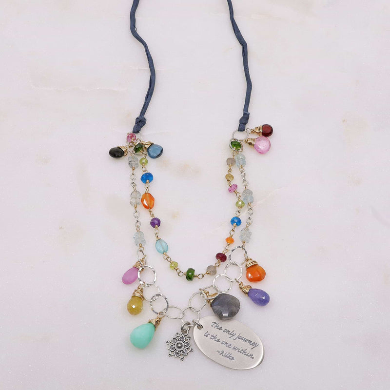 Free Hippie - Double-Strand Multi-Gemstone Necklace alt image | Breathe Autumn Rain Artisan Jewelry