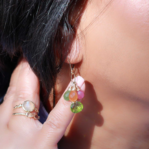 Fruit Pop - Peridot and Sapphire Cluster Earrings life style image | Breathe Autumn Rain Artisan Jewelry