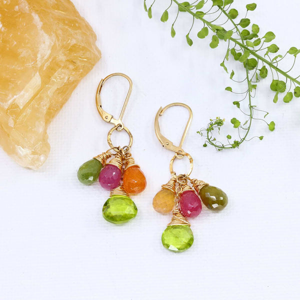 Fruit Pop - Peridot and Sapphire Cluster Earrings main image | Breathe Autumn Rain Artisan Jewelry