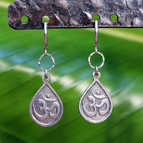 Lord Ganesha Om Sterling Silver Earrings