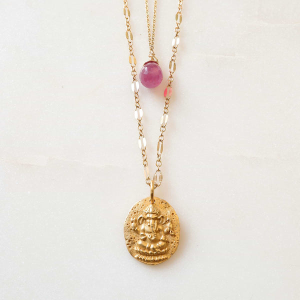 Ganesha Pink Sapphire Layered Necklace detail image | Breathe Autumn Rain Artisan Jewelry