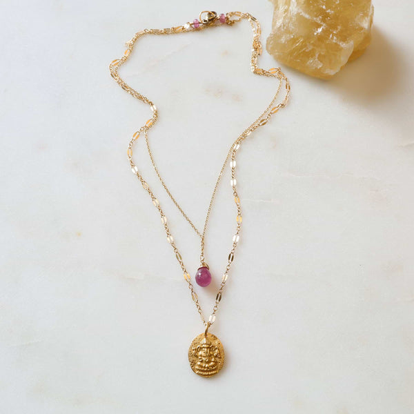Ganesha Pink Sapphire Layered Necklace main image | Breathe Autumn Rain Artisan Jewelry
