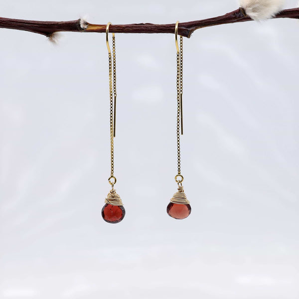 Garnet Gold Thread Earrings alt image | Breathe Autumn Rain Artisan Jewelry