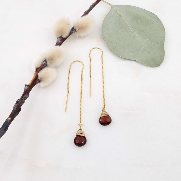 Garnet Gold Thread Earrings main image | Breathe Autumn Rain Artisan Jewelry