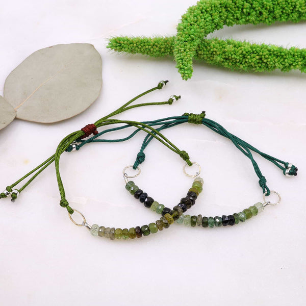 Green Tourmaline Ombré Cord Bracelet main image | Breathe Autumn Rain Artisan Jewelry