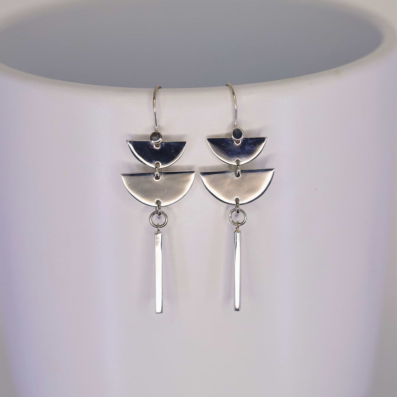 Half Moon Bay - Sterling Silver Dangle Earrings main image | Breathe Autumn Rain Artisan Jewelry