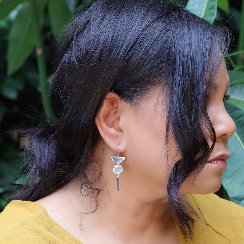 Half Moon Bay - Sterling Silver Dangle Earrings life style image | Breathe Autumn Rain Artisan Jewelry