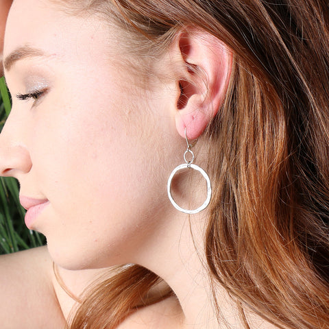 Hand forged Distressed Small Sterling Silver Hoop Earrings