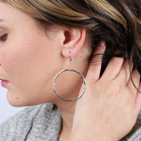 Hand forged Large Distressed Sterling Silver Hoop Earrings