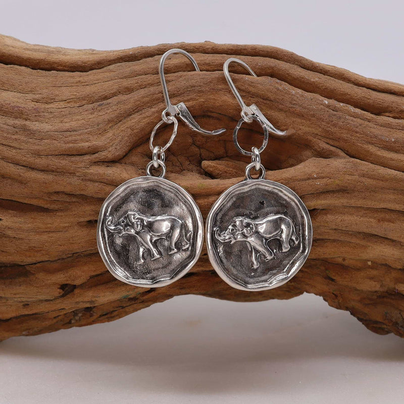 Happy Elephant Silver Coin Earrings alt image | Breathe Autumn Rain Artisan Jewelry
