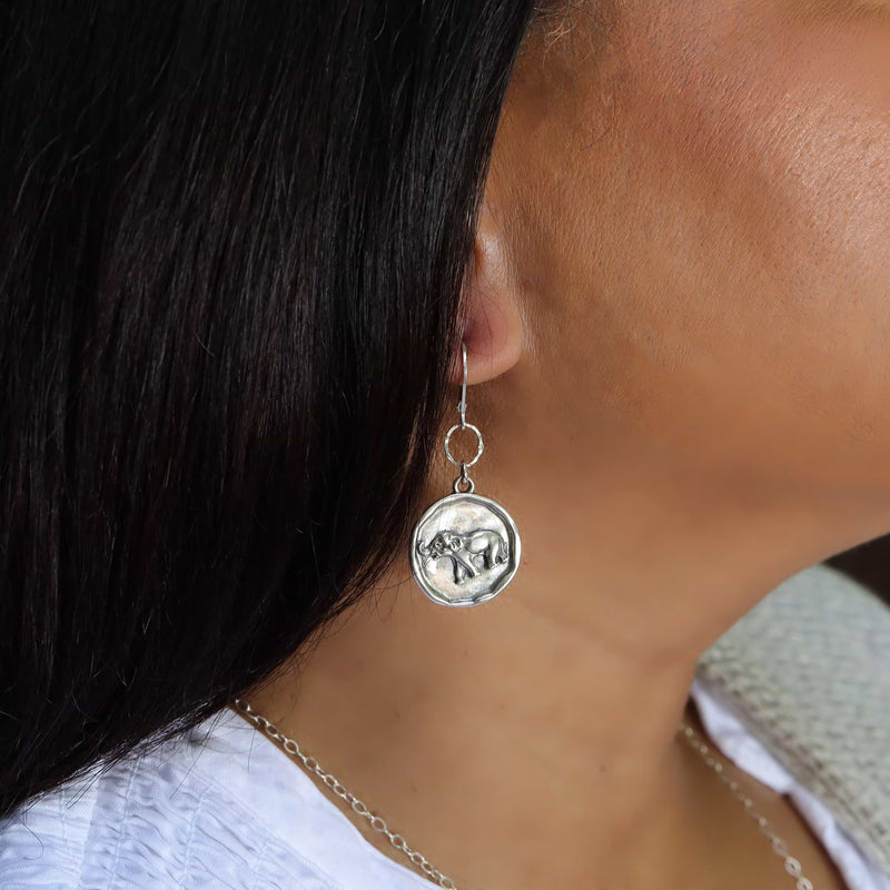 Happy Elephant Silver Coin Earrings life style image | Breathe Autumn Rain Artisan Jewelry