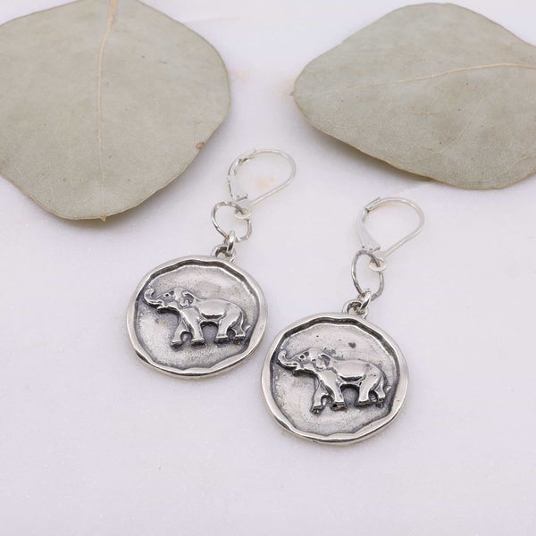 Happy Elephant Silver Coin Earrings main image | Breathe Autumn Rain Artisan Jewelry