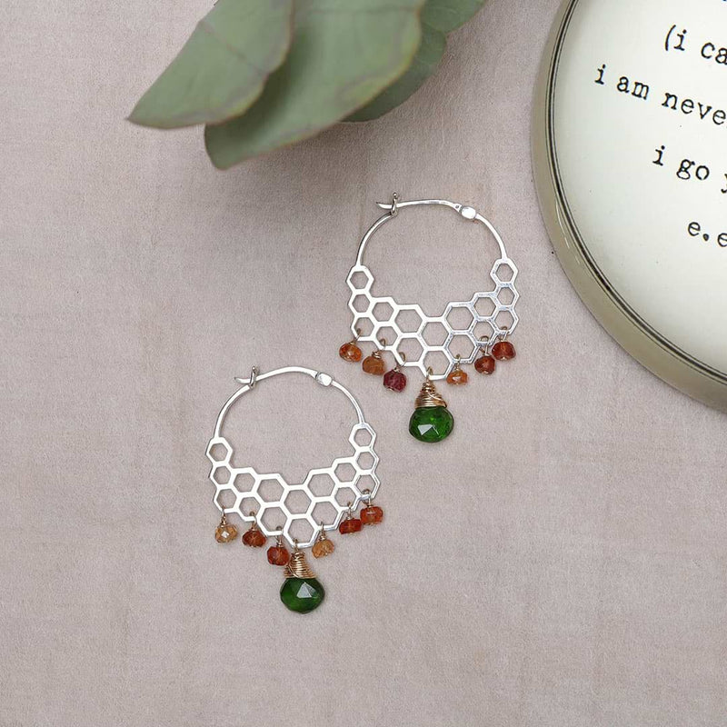 Honeycomb Cascade - Gemstone Hoop Earrings alt image | Breathe Autumn Rain Artisan Jewelry