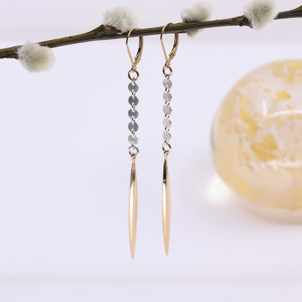 Huntress - Mixed Metal Spiked Drop Earrings main image | Breathe Autumn Rain Artisan Image