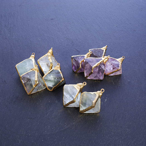 Hypnotic - Double-Pyramid Fluorite Pendant Necklace