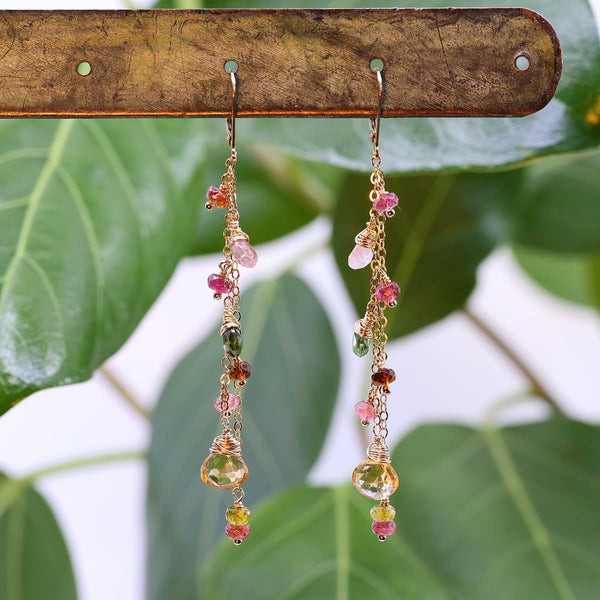 In Full Bloom - Tourmaline and Citrine Gold Cluster Drop Earrings alt image | Breathe Autumn Rain Artisan Jewelry