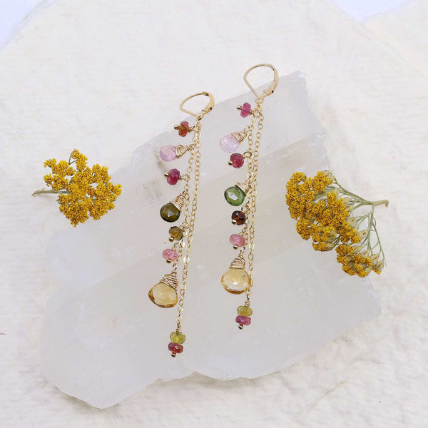 In Full Bloom - Tourmaline and Citrine Gold Cluster Drop Earrings main image | Breathe Autumn Rain Artisan Jewelry