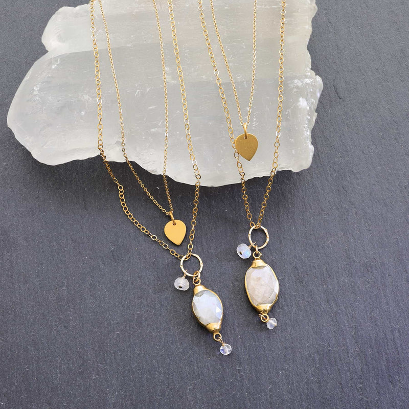 Isabelle - Moonstone Pendant Double Strand Gold Necklace main image detail | Breathe Autumn Rain Artisan Jewelry