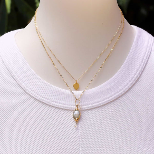 Isabelle - Moonstone Pendant Double Strand Gold Necklace life style image | Breathe Autumn Rain Artisan Jewelry