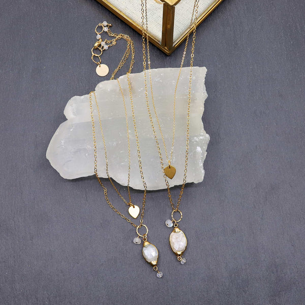 Isabelle - Moonstone Pendant Double Strand Gold Necklace main image | Breathe Autumn Rain Artisan Jewelry