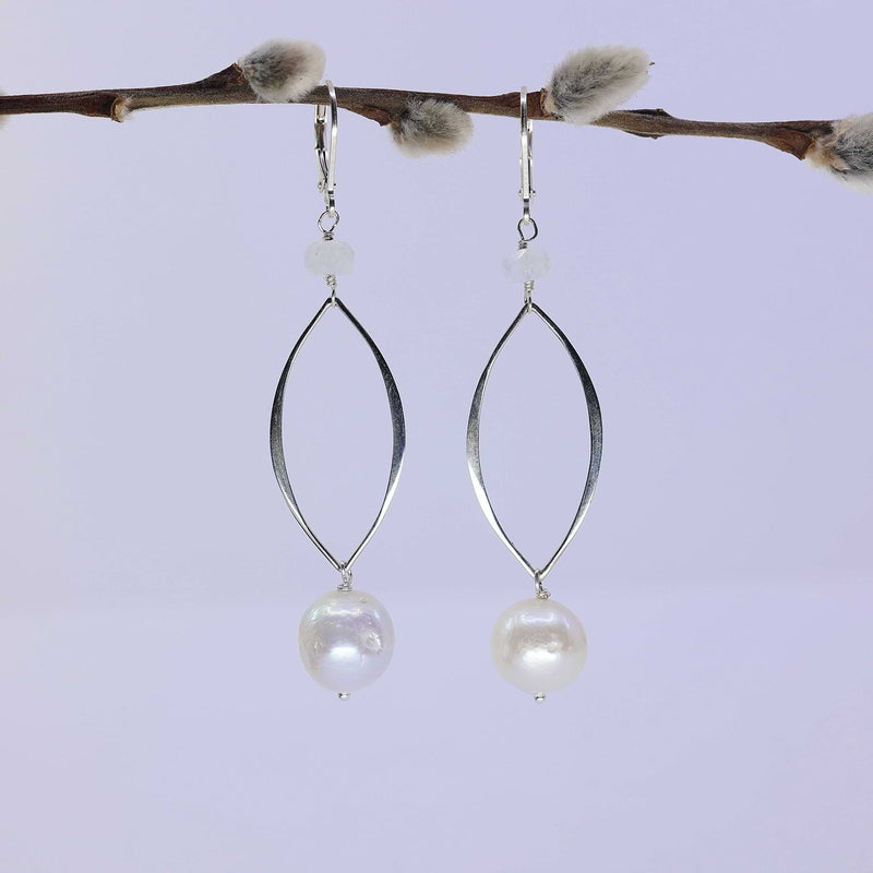 Juxtaposition - Freshwater Pearl Moonstone Sterling Silver Earrings main image | Breathe Autumn Rain Artisan Jewelry